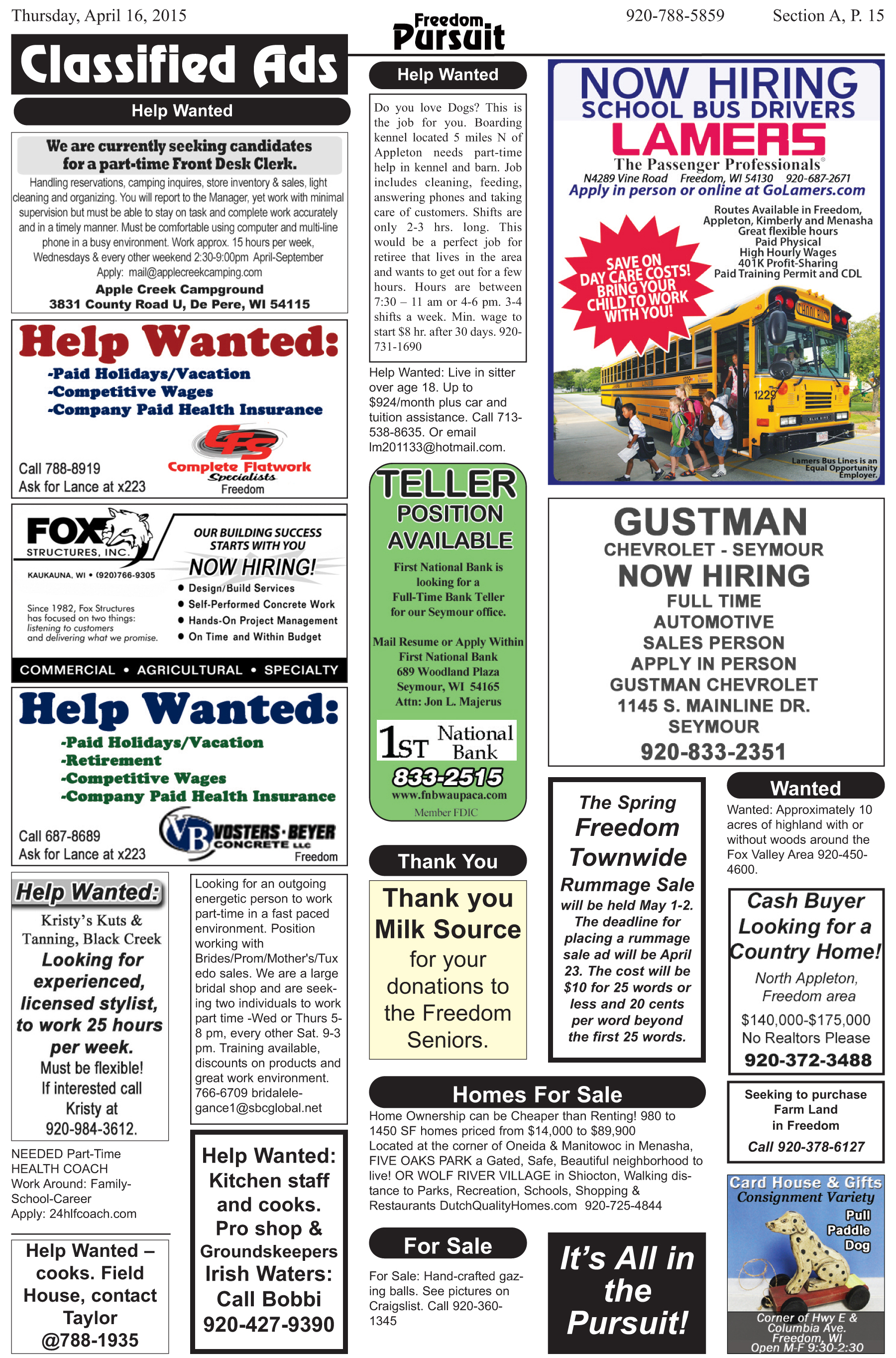 Classified Ads – Freedom Pursuit